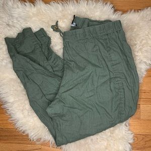 Ellen Tracy army green linen pants
